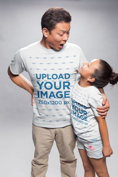 T-Shirt Mockup of a Dad and Daughter Making Faces while Hugging a20953