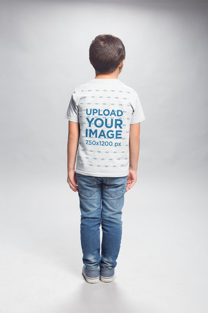 T-Shirt Back Shot Mockup of a Kid Standing in a Photo Studio a20942