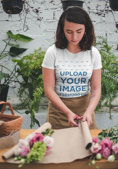 T-Shirt Mockup Featuring a Girl Working at a Flower Shop a20498