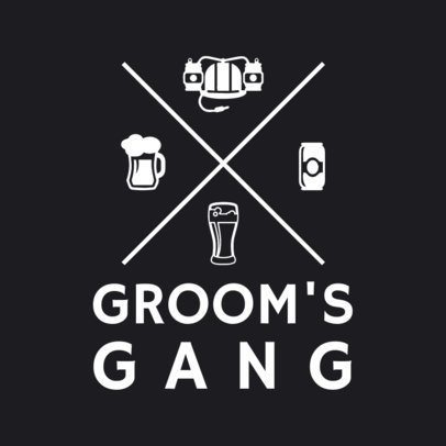 T-Shirt Template for Groom Party with Drinks Graphics 1020a