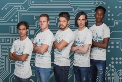 Side Shot T-Shirt Mockup of an Esports Team Posing a21088