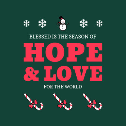 Social Media Post Template for Christmas with Candy Cane and Snow Man Graphics 626b