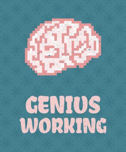 Pixel Art Brain T-Shirt Design Maker 28e