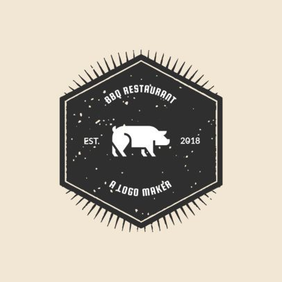 BBQ Logo Maker with Pig Images Cartoon Style 990b