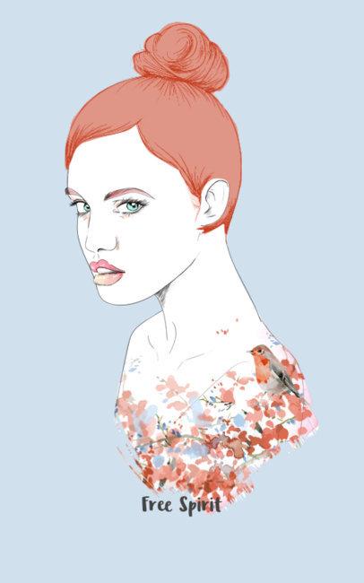 T-Shirt Template of Woman with Little Bird Design 3b