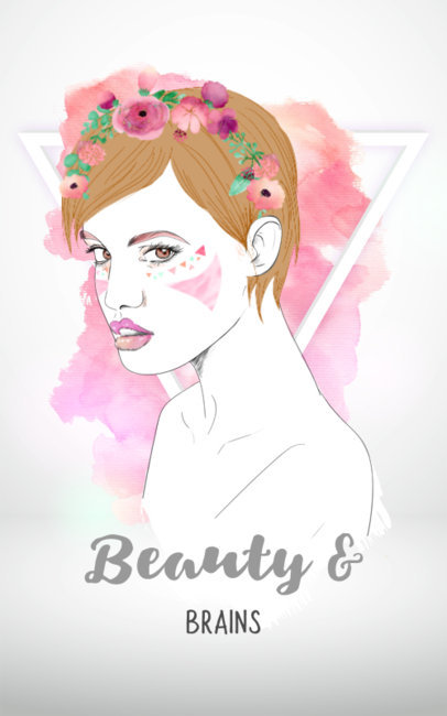 Watercolor T-Shirt Design Template with Flower Crown 3d