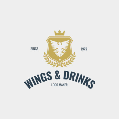 Fast Food Restaurant Logo Maker with Wings Symbol 1061a