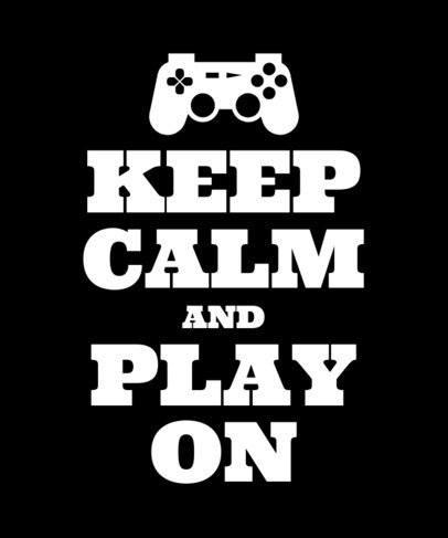 Typography Keep Calm Gamer T-Shirt Design Template 26e