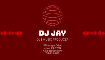 DJ Business Card Template with Soundwave Clipart 130b