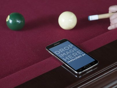 Android Mockup Template Over Billiards Table