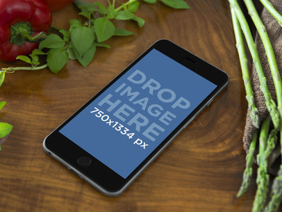 Mockup Template of iPhone 6 on Cooking Table