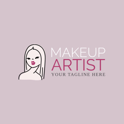 Makeup Artist Logo Maker with Line Art 1162a
