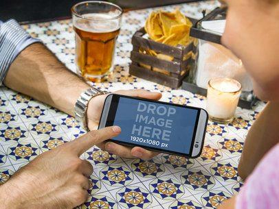 Couple Having Dinner Android Mockup Generator