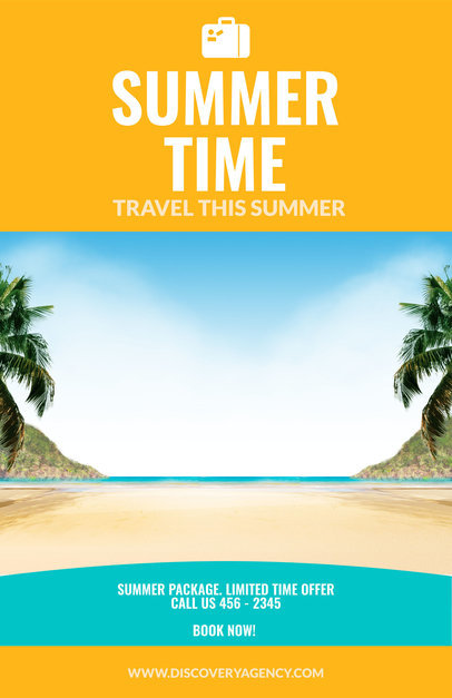 placeit vacation flyer maker for a travel agency orange theme