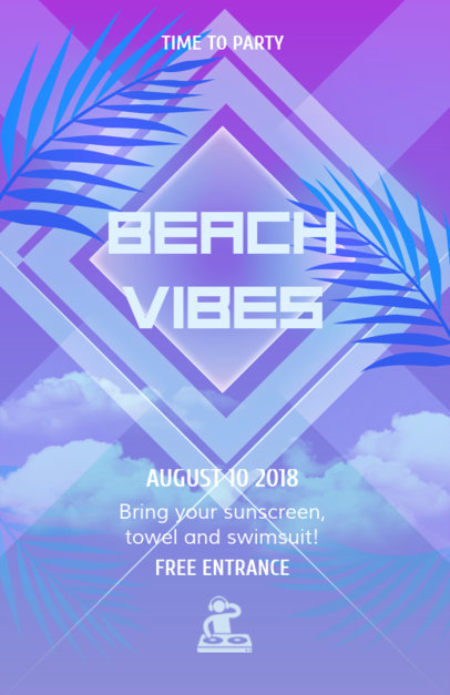 Beach Party Flyer Template with Blue Theme 102a
