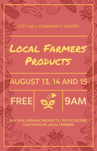 Farmers Market Flyer Maker Red Theme 177c