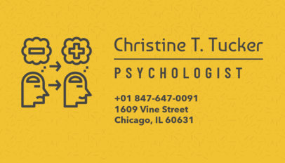 Business Card Maker for Psychologists with Yellow Theme 189a