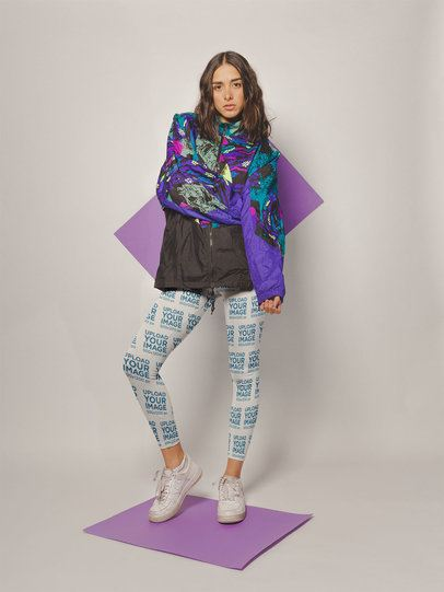 Mockup of a Woman Wearing Leggings and an 80's Styled Jacket a19135