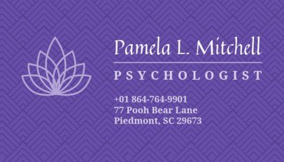 Psychologist Business Card Maker with Purple Background 189e