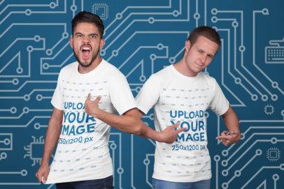 Mockup Featuring Two Esports Players Showing Off Their T-Shirts a21141