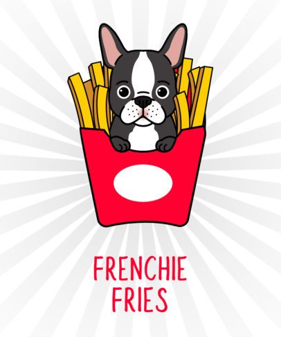 Dog T-Shirt Design Template with French Bulldog Drawing 140d