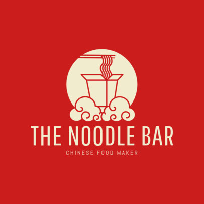 Online Restaurant Logo Maker for a Noodle Bar with Take Out Box Icon 1214d