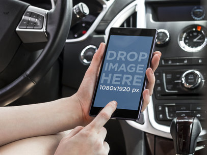 Mockup Template of Woman Using Android Phone Inside the Car