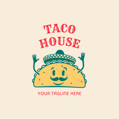 Mexican Restaurant Logo Maker with Taco Clipart 1237c