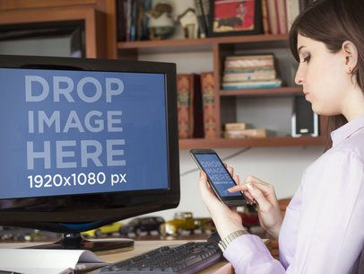 Woman Using PC and Android Phone at Home Office