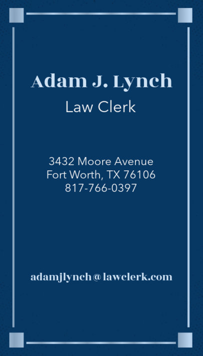 Business Card Maker for Law Clerks with Vertical Layout 69c