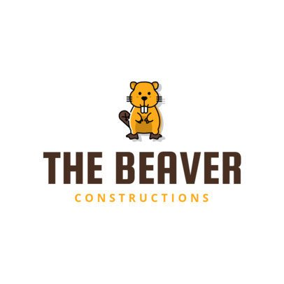 Construction Company Logo Maker with Beaver Icon 1175d