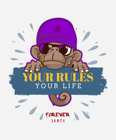 Skater T-Shirt Design Creator with a Monkey with Sunglasses 4c