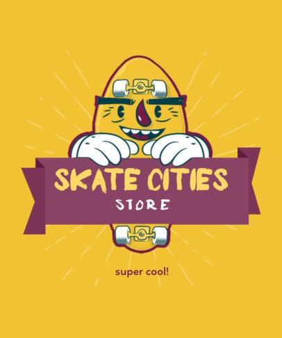 Skater T-Shirt Design Maker with a Smiling Skateboard 4d