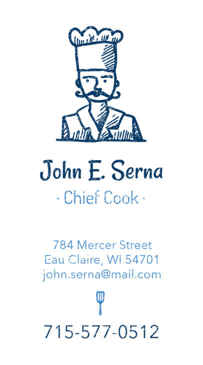 Personal Chef Business Card Maker with Vertical Layout 73b