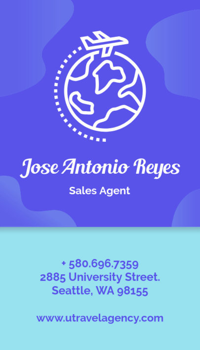 Vertical Business Card Template for Travel Agencies 338