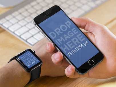 Apple Watch and iPhone 6 at The Office Stock Photo