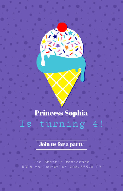 Kids Party Flyer Maker with Ice Cream Clipart 223c