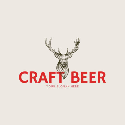 Online Logo Maker for a Craft Beer Bar with Deer Icon 973e