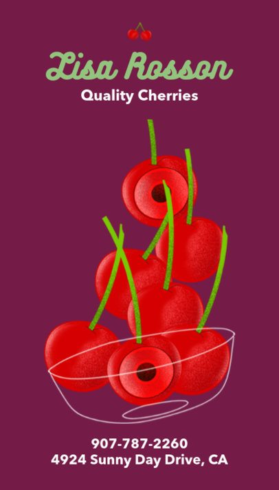 Business Card maker with Cherries Graphics 191a