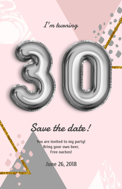 Online Flyer Maker with Silver Balloon Numbers 225a
