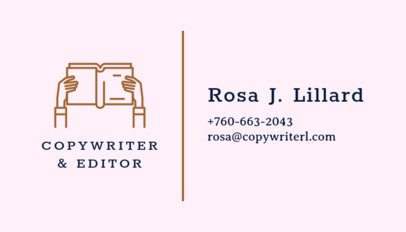 Business Card Maker for Copywriter Freelance with Book Icons 221a