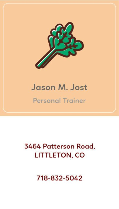 Minimal Personal Trainer Business Card Maker With Vegetable Illustrations 215b