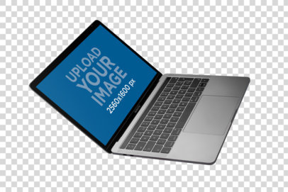 Angled Shot Mockup of an Open MacBook on a Transparent Surface a21453