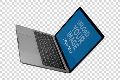 Transparent Mockup of a MacBook Floating from an Angled Perspective a21458