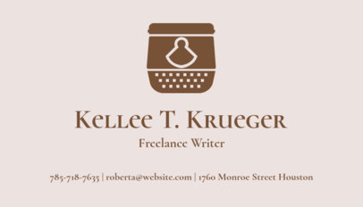 Online Business Card Maker for Book Authors with Feather Pens Icons 213b