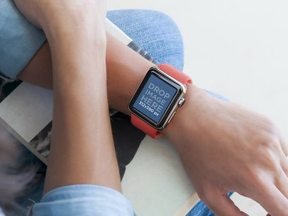 Young Woman Wearing an Apple Watch and Holding a Book Mockup Template