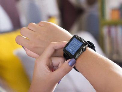 Close-up Mockup of Young Woman Using Her Black Apple Watch
