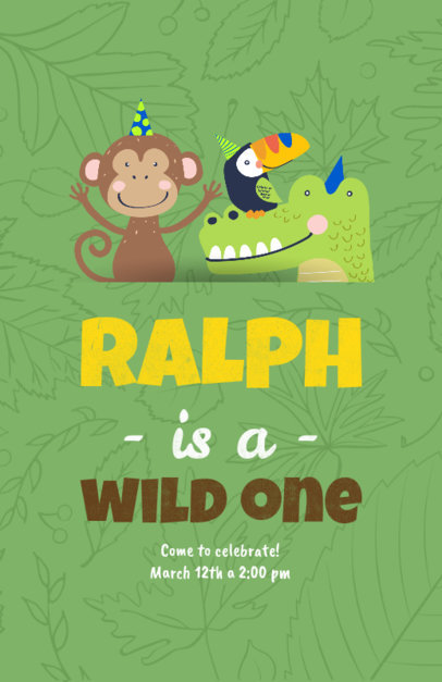 Flyer Maker for a Kid's Birthday Party with Rainforest Animals 210a