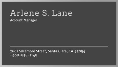 Minimalistic Business Card Template in Grey 250c