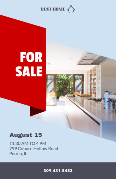 Online Flyer Maker for Realtors with Red Ribbon 236a
